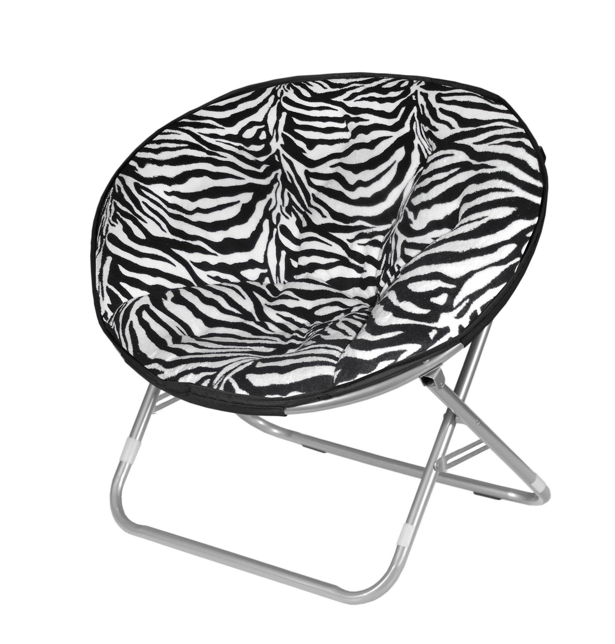 Microplush Folding Saucer Chair Zebra Print FurnitureNdecor