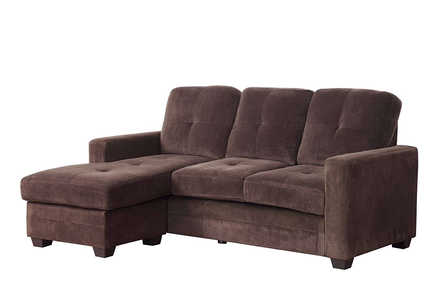 Homelegance 9789CF-3LC Sectional Sofa with Reversible Chaise - Coffee/Dark Brown Microfiber