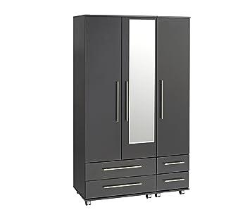 Ideal Furniture 3 Door Plus 4 Drawers and Mirror Wardrobe, Wood, Black