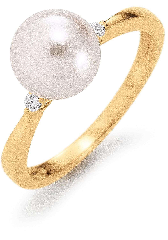 Adriana Damen-Ring Akoya Zuchtperlen mit Brillant 585 Gelbgold Eleganza E12 jetzt bestellen