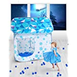 SUGAR Q Breathable Extra Large Portable Folding Pop-Up Blue Frozen Ice Snow Play Tent Playhouse Play Hut Ball Pit Pool,Kids Girls/Boys Birthday Gift Party Indoor/Outdoor Non-Toxic/Odor-Free