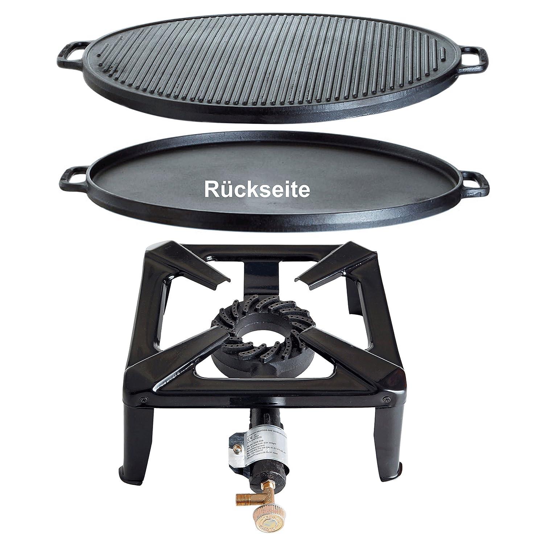 Paella World International Gaskocher Hockerkocher-Set mit Gusseisengrillplatte, Mehrfarbig, 2-teilig günstig