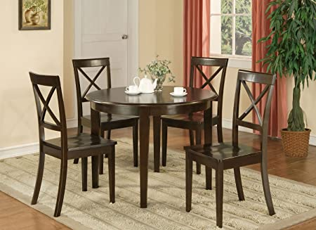 East West Furniture BOST3-CAP-W 3-Piece Kitchen Table and Chairs Set, Small, Cappuccino Finish