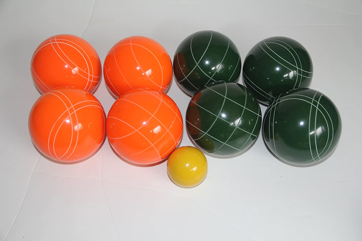 Premium Quality EPCO Tournament Bocce Set - 110mm Orange and Green Bocce Ball...