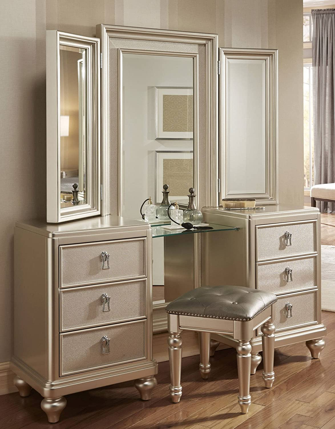 Goddess Vanity Dresser with Stool and Tri View Mirror