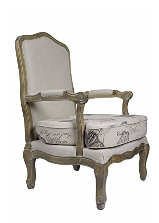 DERRYS Loire Upholstered Oak Armchair with Butterfly Print, Wood, Beige