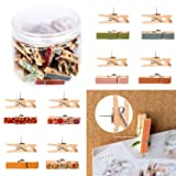 Whaline Push Pins with Colorful Wooden Clips Pushpins 50 Pack Tacks Thumbtacks Clothespins Decorative Craft Paper Clips for Cork Boards Artworks Notes Photos Craft and Wall Decoration