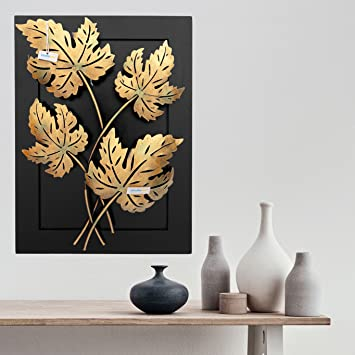 Collectible India Home Decor Iron Handmade Leaf Design Natural Theme Decorative Wall Hanging Showpiece Gift