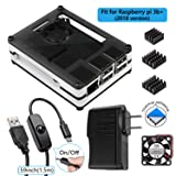 Smraza Raspberry Pi 3 B+ Case with Fan + Heatsinks + 2.5A Power Adapter + Micro USB Cord w/On Off Switch for Pi 3B+, 3 Model B plus, 3B