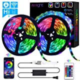 LED Strip Lights, Wrrlight WiFi 32.8ft/10M 300LEDs Color Changing Rope Lights 5050 RGB Light Strips with Alexa Google APP Controller, Waterproof Tape Lights Sync with Music Apply for Home Kitchen. (Color: Multicolor, Tamaño: 32.8ft)
