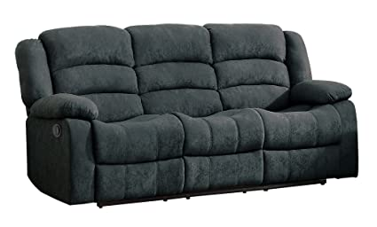 Homelegance 8436GY-3 Transitional Design Rolled Tufted Reclining Sofa Blue Grey Velvet
