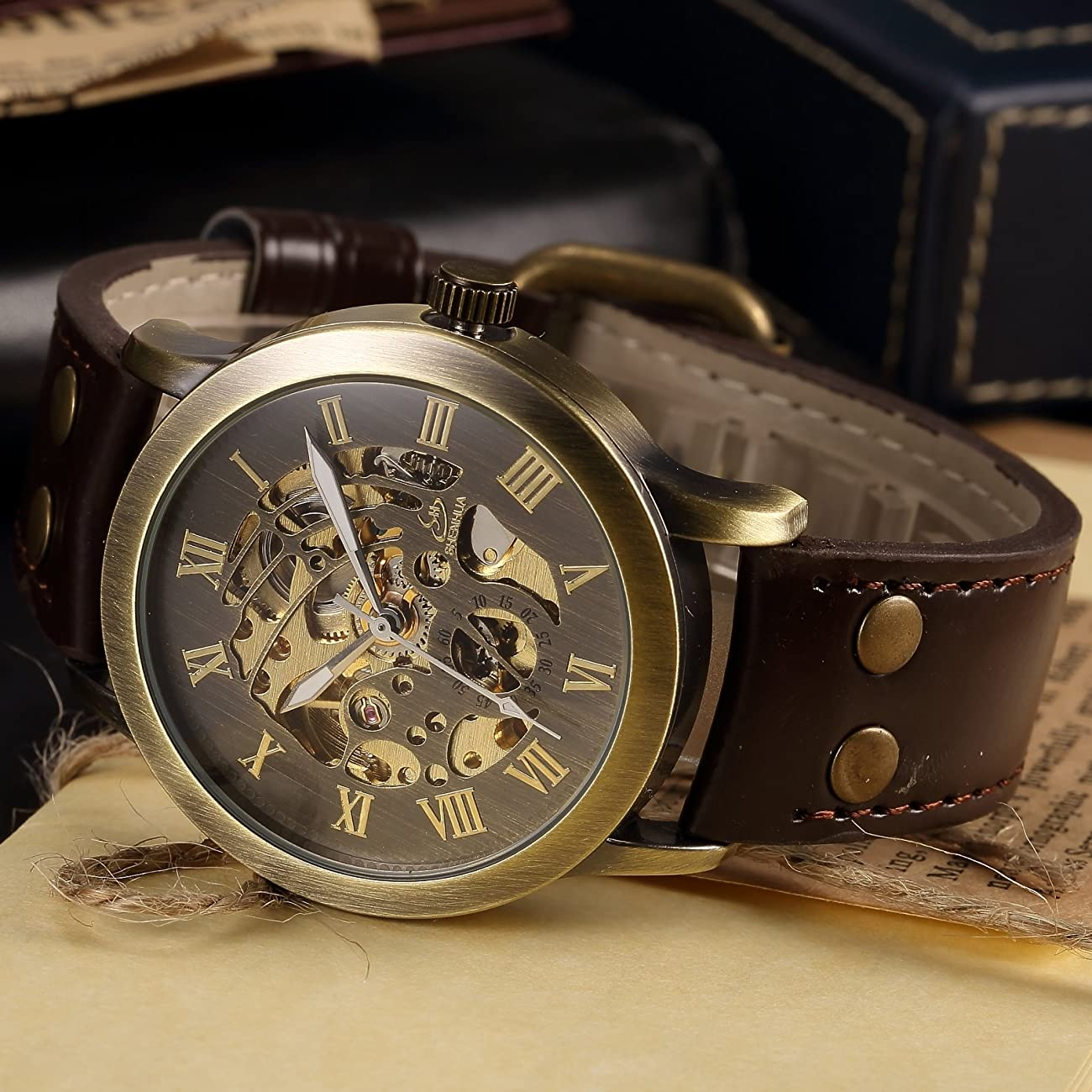 AMPM24 Men's Steampunk Bronze Skeleton Self-Winding Auto Mechanical Leather Wrist Watch PMW198 4