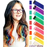 CCW 9PCS Wig Pieces For America Girls and Dolls Clip In/On Colored Hair Extensions(Rainbow Color) (Color: Rainbow Color)