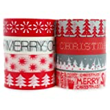 Crafty Rabbit Christmas Washi Tape - Set of 8 Rolls - 262 Feet Total - Red, Grey, White (Color: CHRM01)
