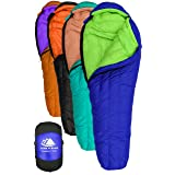 Goose Down Sleeping Bag for Backpacking – Eolus 15 & 30 Degree F 800 Fill Power Ultralight, Ultra Compact Down Filled Backpack Packable 3/4 Season Mens and Womens Lightweight Mummy Bags Cold Weather (Color: 15 Degree - Blue/Lime Green, Tamaño: Long)