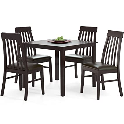 CorLiving DKR-699-Z1 5-Piece Dark Cocoa Dining Set with Tapered Back Chairs