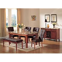 ACME Bologna Brown Marble Top Dining Table Cherry Finish