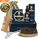 Beard Grooming Kit, Beard Care Kit Gifts for Men, Beard Growth Kit 6 in 1 Beard Oil and Balm, Wooden Beard Brush and Comb, Sharp Beard Scissors Luxury Gift Box and Free E-Book
