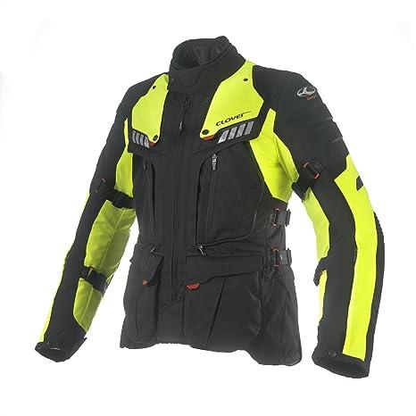 Clover 99172325_ 04Cross Over-3Veste de moto airbag compatible noir/jaune fluo Taille L