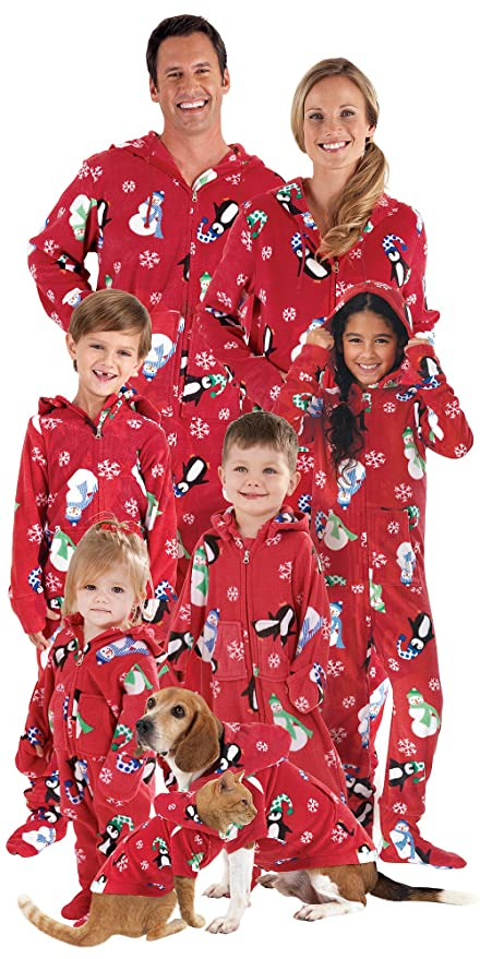 Red Fleece Winter Whimsy Matching Hoodie-Footie Pajamas for the Whole Family