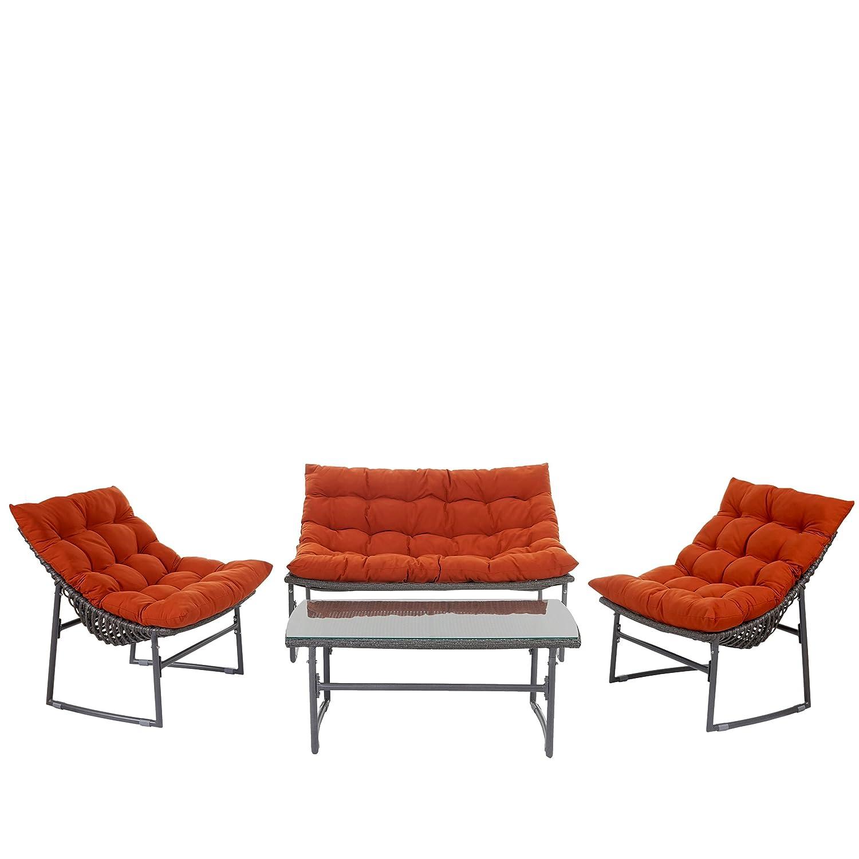 2-1-1 Poly-Rattan Garten-Garnitur Tunis, Sitzgruppe Lounge-Set Alu ~ anthrazit, Kissen terrakotta