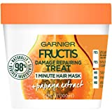 Garnier Fructis Damage Repairing Treat 1 Minute Hair Mask, 3.4 fl. oz. (Color: Papaya, Tamaño: 3.4 fl oz)