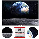 Great Art Photo Wallpaper Earth from Moon 210 x 140 cm/82.7 Inch x 55 Inch - Wallpaper 5 Pieces Includes Paste. (Color: Earth from Moon, Tamaño: 82.7 x 55 Inch - 5 parts + paste)