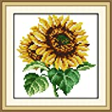 Stamped Cross Stitch Kits Pre-Printed Cross-Stitching Starter Kit for Beginners Adults, Embroidery Needlework Kits The Sunflower Pattern for Wall Decorations (Color: Stamped 6.7×6.7 inch, Tamaño: 6.7×6.7 inch)