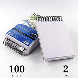 Bellofy 100-Sheet Small Sketchpad Mini Series 5.8 x 8.3 inch - Acrylic Art Pad for Sketching Ink Sketch Book - 98 Ib/160 g/m2 - Spiral Multimedia Notebook, Drawing Paper Pad - Set of 2 (Tamaño: 5.8 x 8.3 inch)