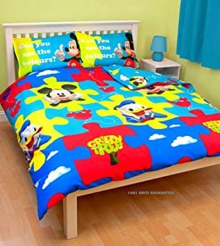 parure housse de couette couette double 200 x 200 cm cm 2 taies mickey mouse disney. Black Bedroom Furniture Sets. Home Design Ideas