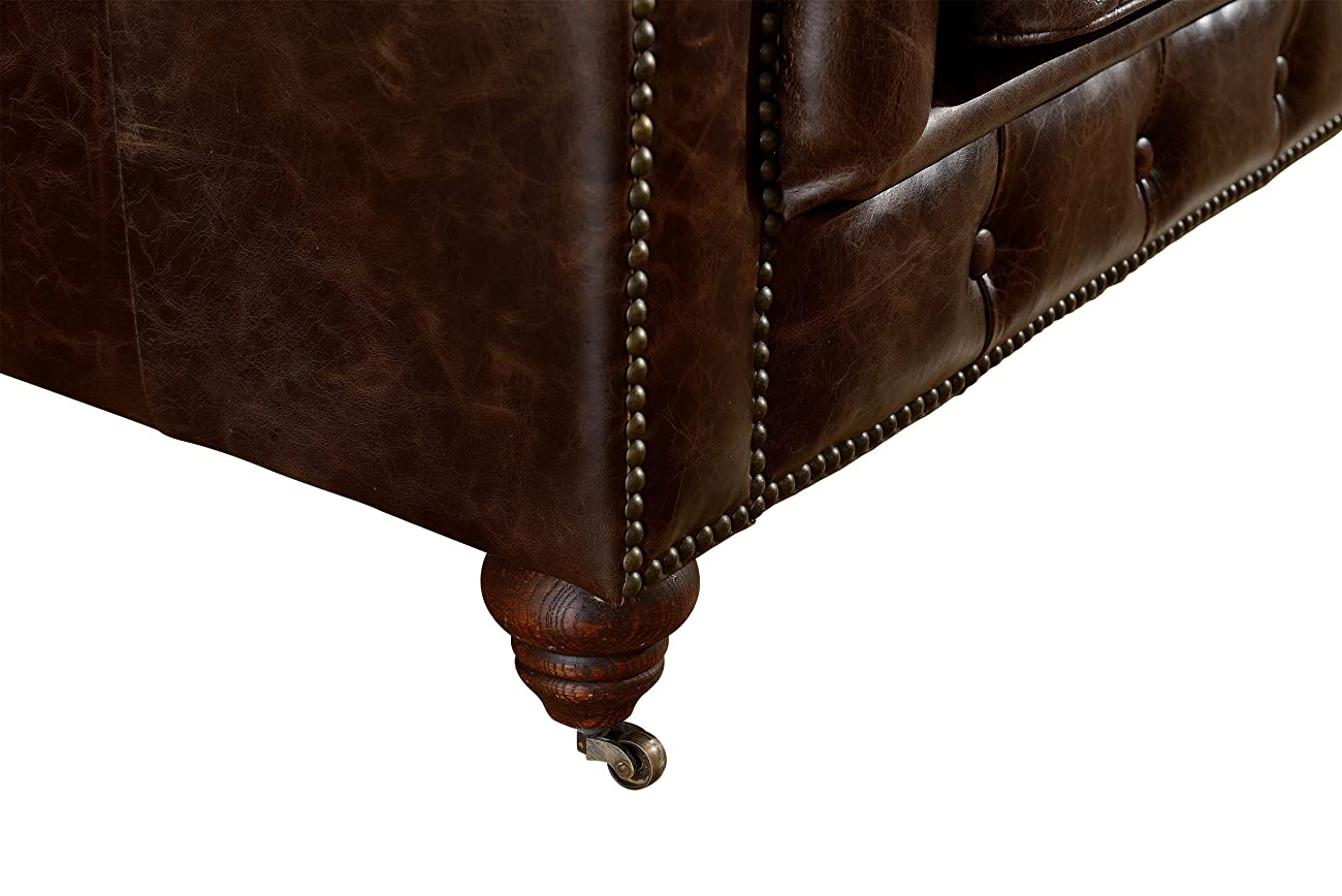 Crafters and Weavers Top Grain Vintage Leather Chesterfield Sofa 3