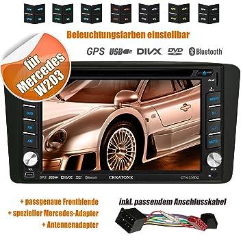 Autoradio 2DIN creatone 336dg en V pour Mercedes Classe C W203(03/2000-08/2004) avec GPS Navigation (Europe), Bluetooth, écran tactile, lecteur DVD et fonction USB/SD