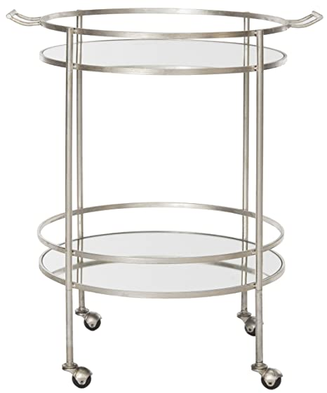 Safavieh Jayce Bar Cart, Metal, Silver/Mirror