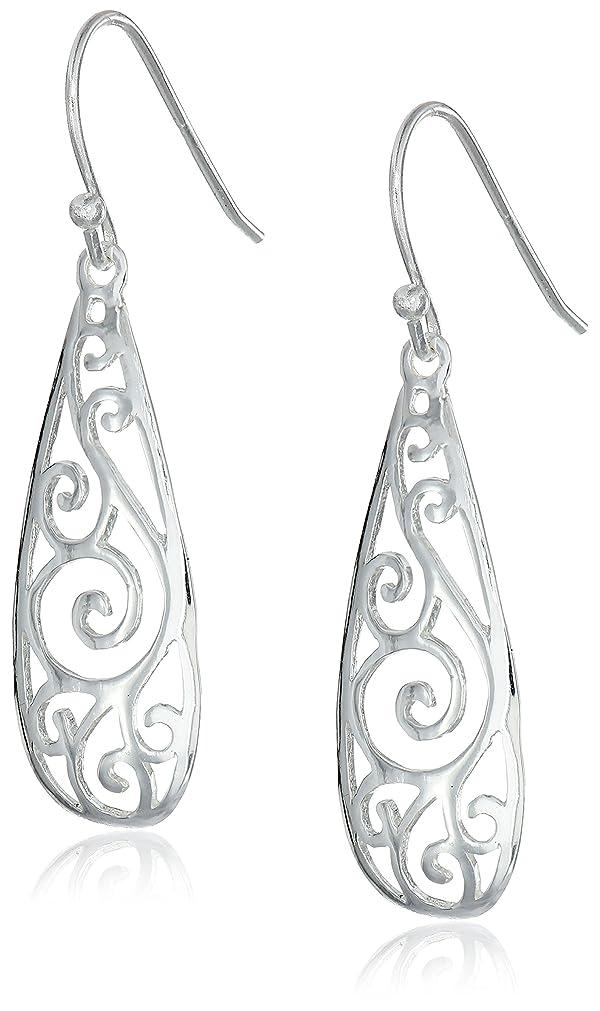 Sterling Silver Filigree Teardrop Earrings (Color: silver)