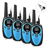 Excelvan 22 Channel FRS GMRS Dual Band 2 Way Radio Long Range Up to 3000M/1.9MI Range (MAX 3.1MI in Open Field) UHF Handheld Walkie Talkie with 1-to-4 Branch Power Adapter (4 Pack, Blue) (Color: Blue, Tamaño: 4 Pack)