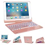 Keyboard Case for iPad 9.7, SENGBIRCH 7 Colors Backlit Wireless Keyboard Case Folio Smart 360 Rotate Stand Cover for iPad Air, iPad Air 2, iPad pro 9.7, iPad 9.7 2017/2018 Tablet, Rose Gold (Color: Rose Gold)