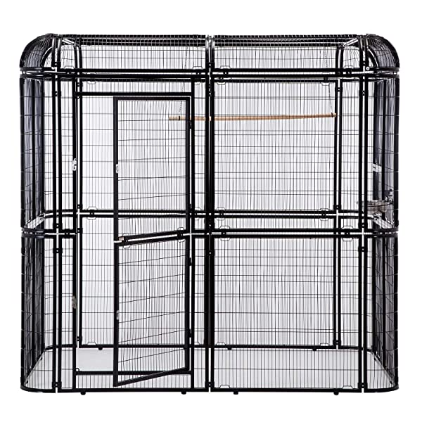 Walnest Large Black Iron Big Walk-in Bird Aviary Cage Heavy Duty Parrot Cockatiel Macaw Finch Birdcages (Color: Black)