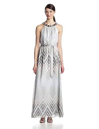 Vince Camuto Women's Blouson Maxi Dress with Beaded Neckline, Grey Multi, 2