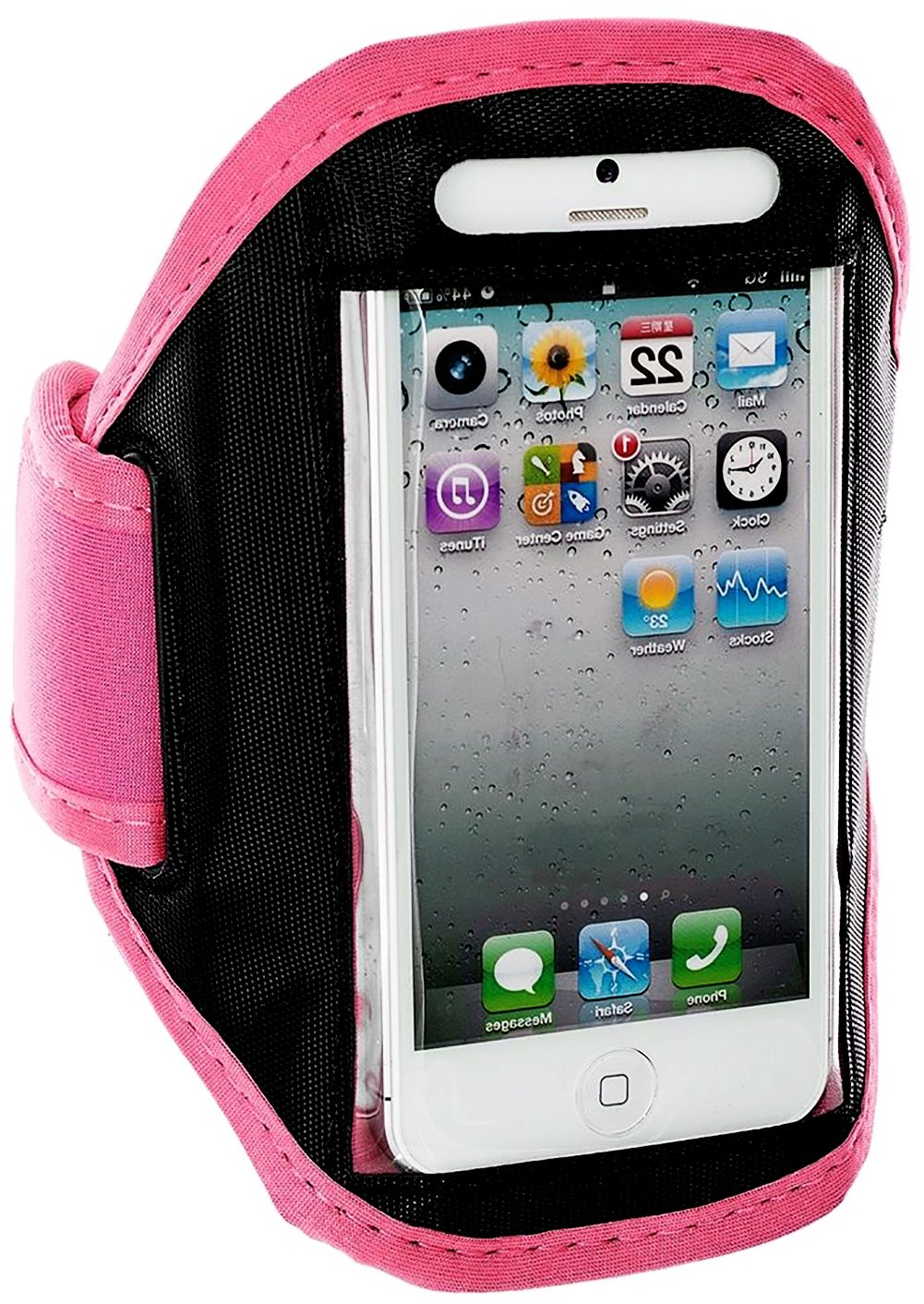 myLife Original Black and Peony Pink {Rain Resistant Velcro Secure Running Armband} Dual-Fit Jogging Arm Strap Holder for iPhone 5|5S|5C and iPod 5 (5G) 5th Generation by Apple All Ports Accessible waterproof bag pouch w armband neck strap for iphone 5 5c black