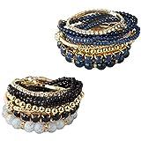 Milacolato 2 Sets Stackable Bracelets for Women Girls Multilayer Beaded Bracelets Stretch Bangles Bohemian Style Black