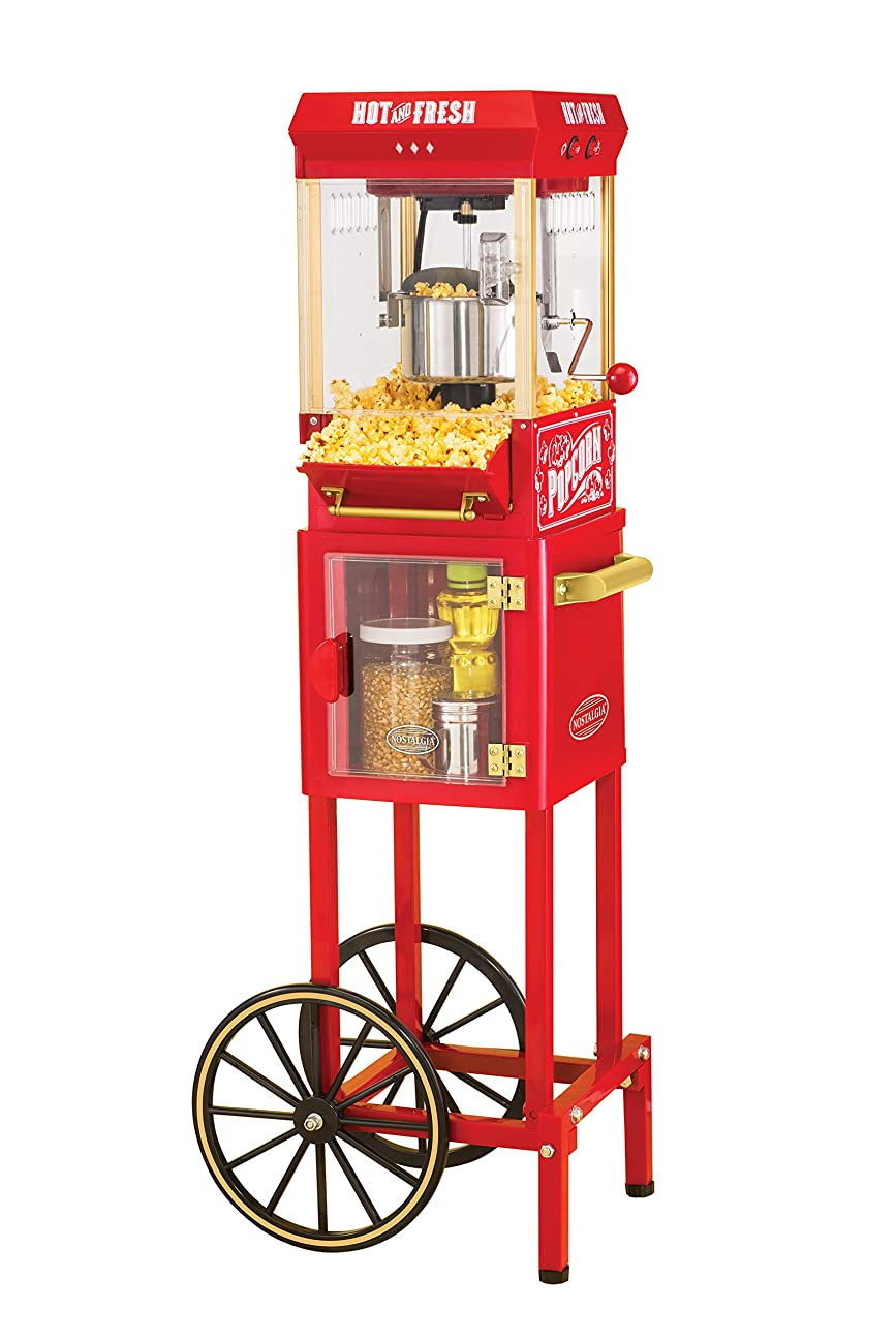 Nostalgia KPM200CART 45-Inch Tall Vintage Collection 2.5-Ounce 10-Cup Kettle Popcorn Cart 0