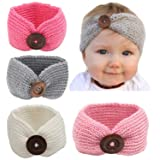 Qandsweet Baby Turban Head Wrap Headbands Girl Knitting Button Hairbands (Color: 4 PACK, Tamaño: one size)