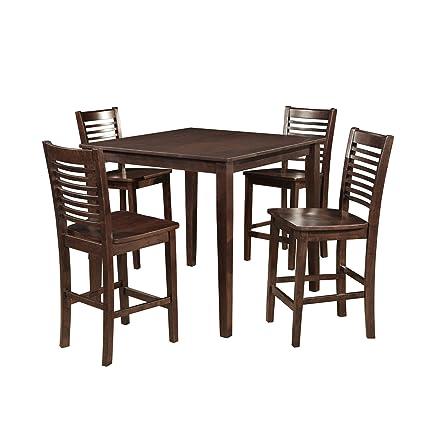 Dorel Asia Modern Slat Back 5-Piece Counter Height Dining Set, Dark Walnut
