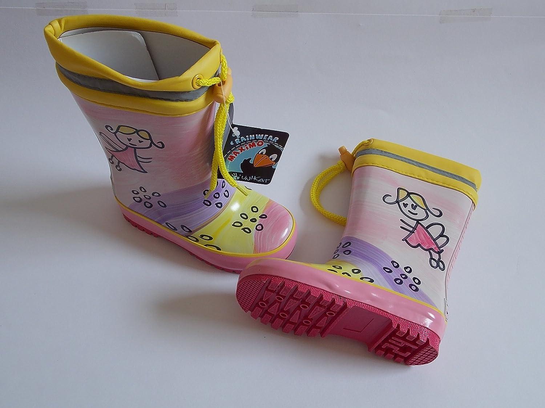 """MaxiMo Babygummistiefel, Kindergummistiefel, Naturgummi pink/gelb, Motiv """"Fee"""" Winterfutter mit Stulpe, handbemalt, jeder Stiefel ein Unikat günstig bestellen"""