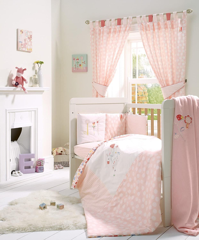Brand New Mamas And Papas Baby Girl Cot Bedding Set Pink Lemonade 5 Piece Set