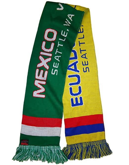 Mexico vs Ecuador Commemorative Soccer Split Scarf (Green/Yellow)