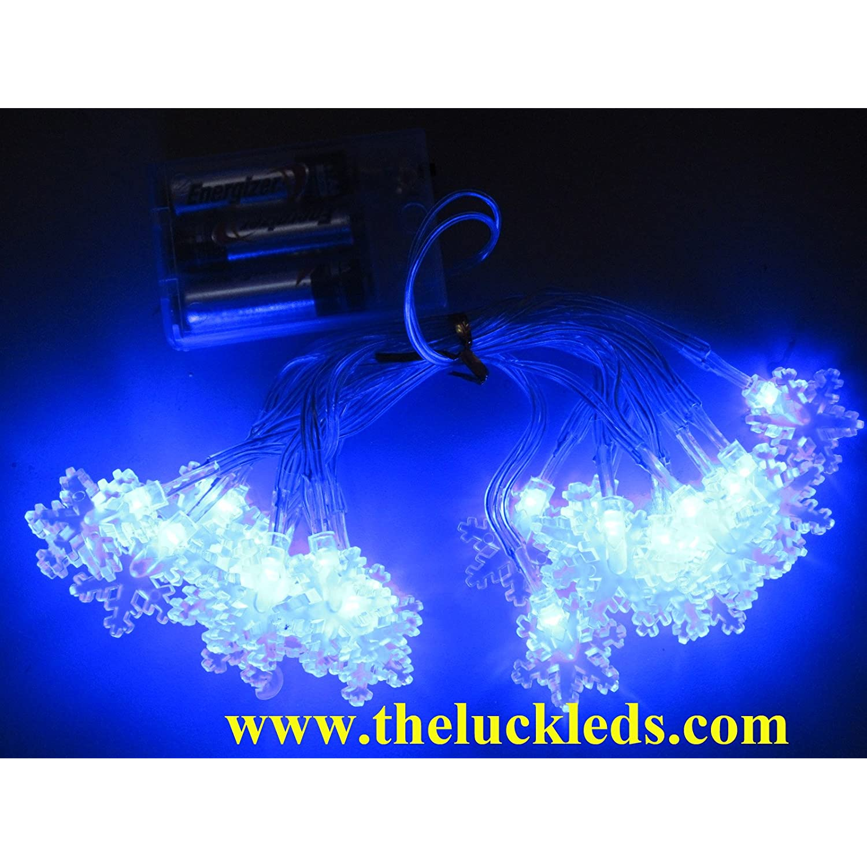 8 2ft 2 5M Blue 20 pcs snowflake LED Christmas light LED string light battery