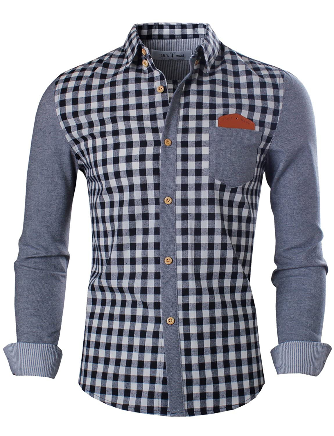 Tom's Ware Mens Trendy Slim Fit Two-toned Checkered Longsleeve Shirt at Amazon Men's Clothing store