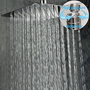 SR SUN RISE SRSH-C1003 Ceiling Mount Bathroom Luxury Rain Mixer Shower Combo Set Rainfall Shower Head System 10 Inch Polished Chrome (Contain Shower Faucet Rough-In Valve Body and Trim) (Color: Polished Chrome, Tamaño: 10 Inch)