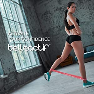 Belleactif Resistance Bands for Legs and Butt - 4 Looped Resistance Bands with Carry Bag and Animated Exercise Guide | Workout Bands Resistance Legs and Butt | Resistance Loops (Color: Purple, Pink-Red, Green, Blue, Tamaño: light, medium, heavy, x-heavy)